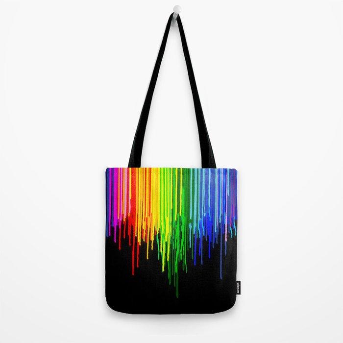 Rainbow Paint Drops on Black Tote Bag