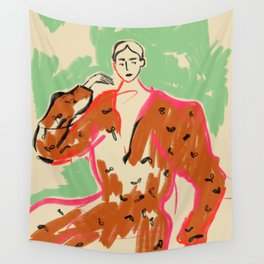 WOMAN IN A TERRACOTTA DRESS Wall Tapestry