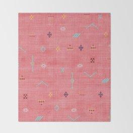 Cactus Silk Pattern in Pink Throw Blanket