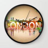 london Wall Clocks featuring London  by mark ashkenazi