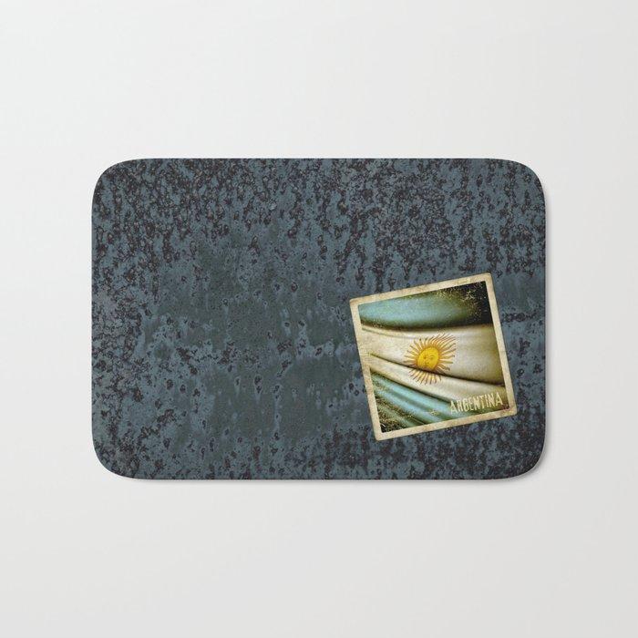 Grunge sticker of Argentina flag Bath Mat