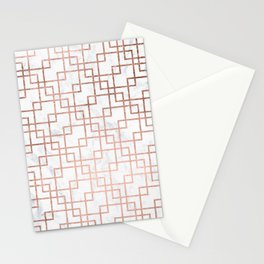 Modern rose gold geometric abstract square pattern on white marble Stationery Cards