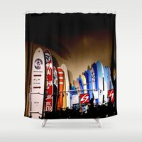 surfboard Shower Curtains featuring Surfboard lane, Waikiki  by INKEDDESIGNS