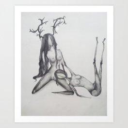 Deer love Art Print