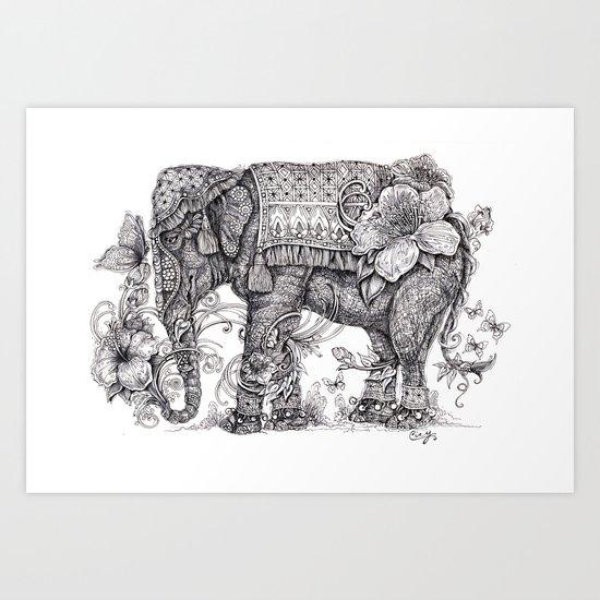 """Anesh the Creative Elephant"" Art Print"