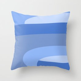 Mid Century Modern Waves Pastel Blue Throw Pillow