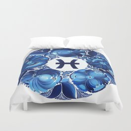 Pisces in Petrykivka style (without artist's signature/date) Duvet Cover