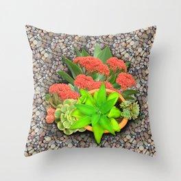Flowering Crassula Perfoliata Throw Pillow