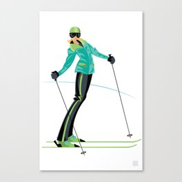 Ski Girl Lean Back Canvas Print