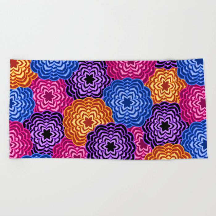 Dahlia Rainbow Multicolored Floral Abstract Pattern Beach Towel