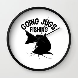 Going Jugs Fishing T Shirt Fisherman Gift Idea Men Wall Clock