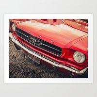 mustang Art Prints featuring Mustang  by Grafiko