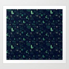 Witchcraft Pattern - Moss Art Print