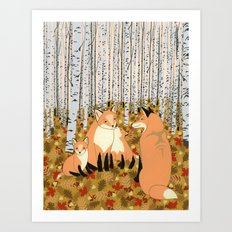Fox family in the autumn forest Art Print