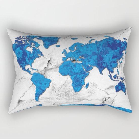 world map marble floral Rectangular Pillow