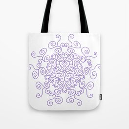 Purple Line Swirl Mandala Tote Bag