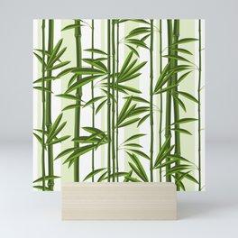 Green bamboo tree shoots pattern Mini Art Print