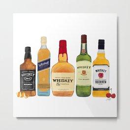 Whiskey Bottles Illustration Metal Print