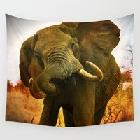 mad Wall Tapestries featuring Mad Elephant by minx267