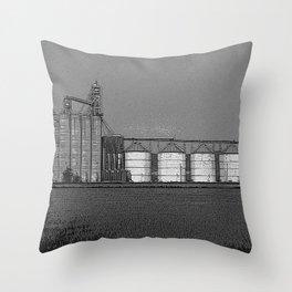 Black & White Grain Silos Pencil Drawing Photo Throw Pillow