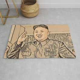 Kim Jong Un Artistic Illustration Ancient Oriental Draw Style Rug