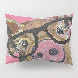 Pink Pig Painting, Cute Farm Animal Pillow Sham