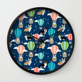 Corgi Hot Air Balloon Dog design - corgi dogs cute dog design Wall Clock