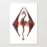 skyrim Canvas Prints featuring Skyrim Alduin by Rubis Firenos