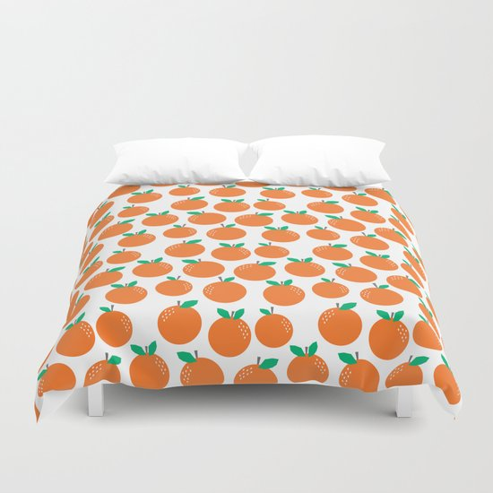 Oranges - sweet fruit summer fresh vegan vegetarian juicing cleanse art print home office decor Duvet Cover