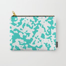 Spots - White and Turquoise Carry-All Pouch