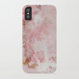 Vintage Floral Rose Roses painterly pattern in pink iPhone Case