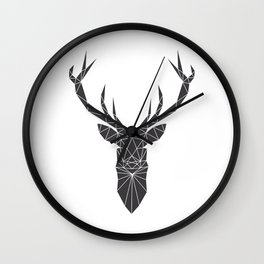 Grey Deer Head Illustration Wall Clock