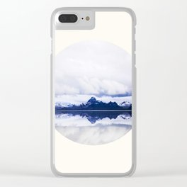 Mid Century Modern Round Circle Photo Graphic Design Navy Blue Arctic Mountains Clear iPhone Case