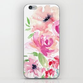 Pink Watercolor Florals with Greenery iPhone Skin