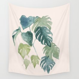Retro watercolor palms in blushpink and emerald Wall Tapestry