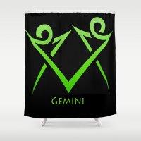 gemini Shower Curtains featuring Gemini by Groovyal