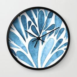 Watercolor artistic drops - blue Wall Clock