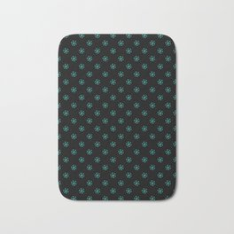 Turquoise on Black Snowflakes Bath Mat
