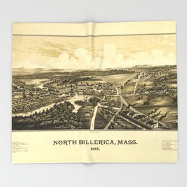 Aerial View of North Billerica, Massachusetts (1887) Throw Blanket