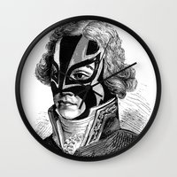wrestling Wall Clocks featuring WRESTLING MASK 11 by DIVIDUS