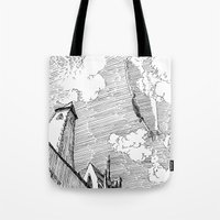 led zeppelin Tote Bags featuring Zeppelin Overhead by Mr.Willow
