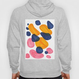 Mid Century Modern Minimalist Abstract Colorful Bubbles Pebbles Yellow Navy Blue Pink Hoody