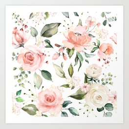 Sunny Floral Pastel Pink Watercolor Flower Pattern Art Print