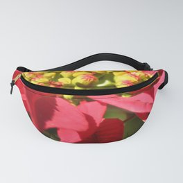 Red Poinsettia Christmas Flower Fanny Pack
