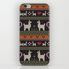 Llama Love Knit iPhone Skin