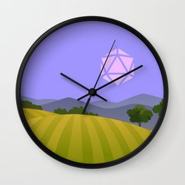 Purple Blue Hour Sunset D20 Dice Sun Tabletop RPG Landscapes Wall Clock