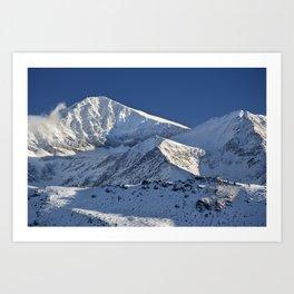 Snowy mountains. 3.478 meters Art Print