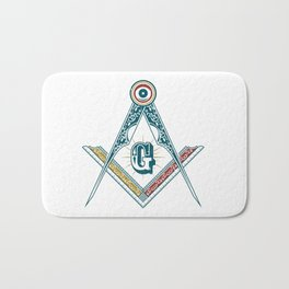 Square and Compass - freemasonry Bath Mat