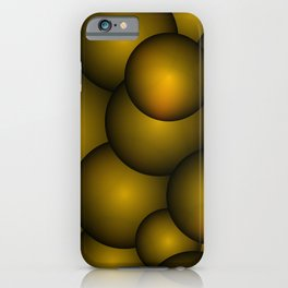 Background of gold and yellow molecules and balls. iPhone Case