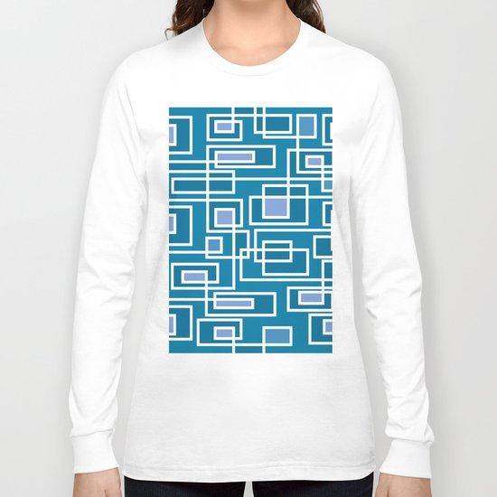 Geometric blue pattern Long Sleeve T-shirt